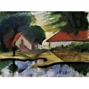 Tadeusz Piotr Potworowski Czerwone Dachy 43 x34