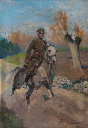 Jerzy Kossak, Ułan na koniu, 1945