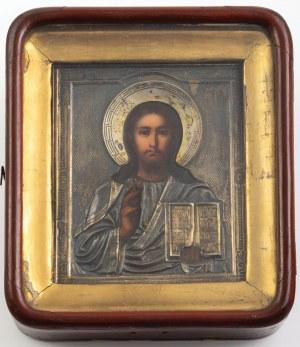 IKONA W KIOCIE, Chrystus Pantokrator, Rosja, Moskwa, Emelian Aleskiejewicz Kuzniecow, 1891