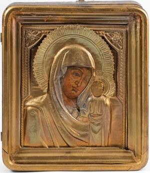 IKONA W KIOCIE, MATKA BOŻA KAZAŃSKA, Rosja, XIX w.