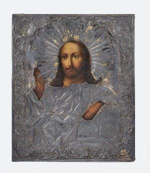 Ikona - Chrystus Pantokrator w srebrnym okładzie