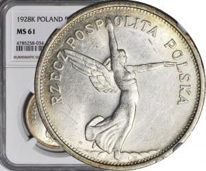 R-, 5 złotych 1928 Nike, ze znakiem bardziej oddalonym od stopy, Warszawa, mennicze