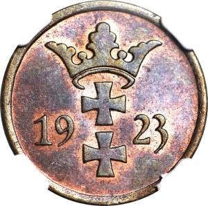 Wolne Miasto Gdańsk, 2 fenigi 1923, mennicze, kolor RB