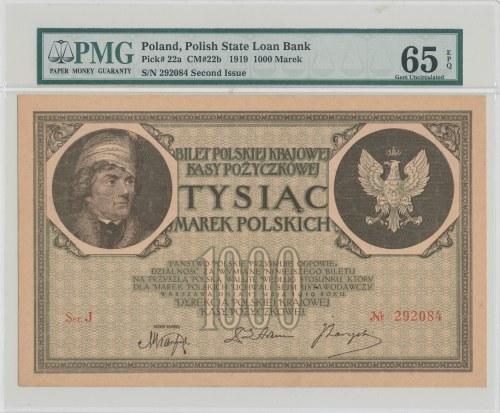1000 marek polskich 1919 - Ser. J