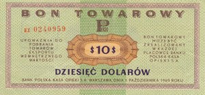 Pewex Bon Towarowy 10 dolarów 1969, rzadsza ser. Ef