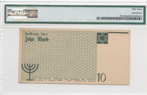 Getto 10 marek 1940, druk w kolorze zielonym, bez znaku wodnego