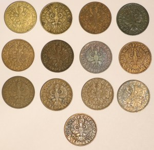 Zestaw monet 2 grosze - 13 sztuk