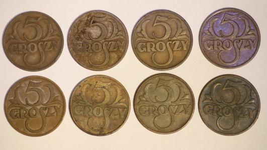 Zestaw monet 5 groszy - 8 sztuk