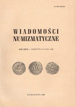 Wiadomości numizmatyczne zeszyt 3-4 z 1985 i 1986