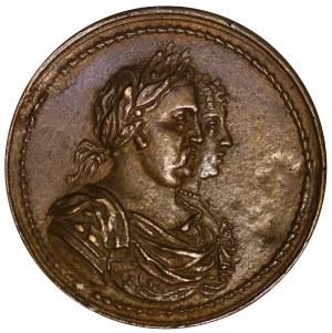 Medal na pamiątkę koronacji pary królewskiej, 1676, autorstwa Jana Höhna młodszego, Gdańsk - odlew w brązie