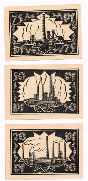 Wałbrzych (Waldenburg), 20, 50, 75 Pf 1921