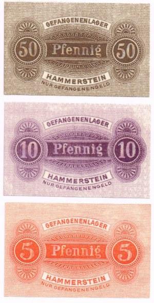5, 10 i 50 fenigów Czarne (Hammerstein) - bony obóz jeniecki