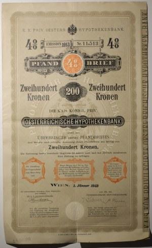 Towarzystwo Hipoteczne, Wiedeń 1913, 4%, 200 koron
