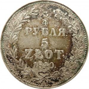 Mikołaj I, 3/4 rubla/5 złotych 1840 MW, Warszawa, bardzo ładny egzemplarz
