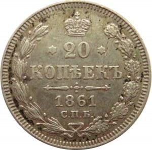 Rosja, Aleksander II, 20 kopiejek 1861, bez liter mincerza, Paryż