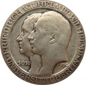 Niemcy, Prusy, Wilhelm II, 3 marki 1910 A, Berlin, 100-lecie Uniwersytetu we Berlinie
