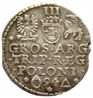 Zygmunt III Waza, trojak 1594, Malbork, piękna patyna