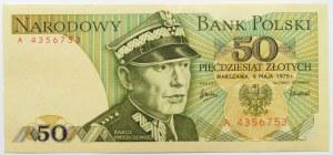 Polska, PRL, 50 złotych 1975, seria A - pierwsza seria, UNC-