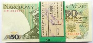 Polska, PRL, paczka bankowa 50 złotych 1988, seria HW