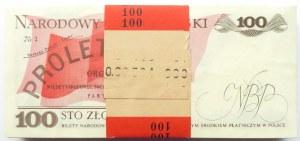 Polska, PRL, paczka bankowa 100 złotych 1988, seria TE