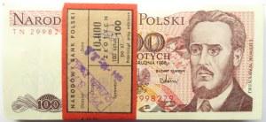 Polska, PRL, paczka bankowa 100 złotych 1988, seria TN