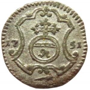 August III Sas, halerz 1751, Drezno, bardzo ładny