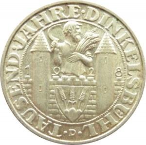 Niemcy, Republika Weimarska, 3 marki 1928 D, Monachium, DINKELSBUHL, rzadkie