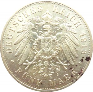 Niemcy, Prusy, Wilhelm II, 5 marek 1913 A, Berlin