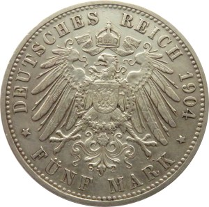 Niemcy, Bawaria, Otto 5 marek 1904 D, Monachium