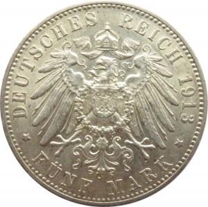 Niemcy, Wirtembergia, Wilhelm II, 5 marek 1913 F, Stuttgart