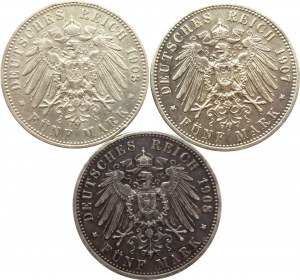 Niemcy, Prusy, Wilhelm II, lot 5 marek 1903-1908 A, Berlin