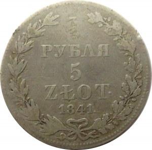 Mikołaj I, 3/4 rubla/5 złotych 1841 MW, Warszawa, rzadszy rocznik