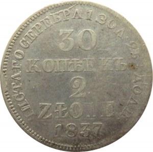 Mikołaj I, 30 kopiejek/2 złote 1837 MW, Warszawa