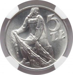 Polska, PRL, Rybak, 5 złotych 1960, wspaniały rewelacyjny egzemplarz, NGC MS66