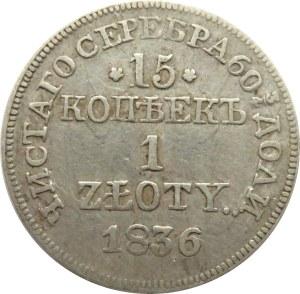 Mikołaj I, 15 kopiejek/1 złoty 1836 MW, Warszawa