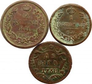 Rosja, Elżbieta II, Mikołaj II, lot miedzianych kopiejek, 3 sztuki, różne nominały