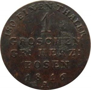Wielkie Księstwo Poznańskie, 1 grosz 1816 A, Berlin, bardzo ładny