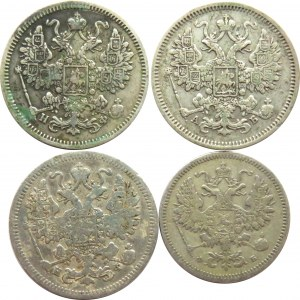 Rosja, Aleksander II, lot srebrnych kopiejek, od 10-15 kopiejek, Petersburg