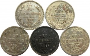 Rosja, Aleksander II, lot 20 kopiejek 1860-62, 5 sztuk, Petersburg