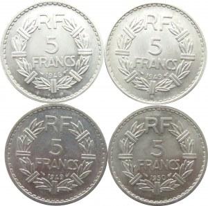 Francja, lot 4 menniczych 5 frankówek 1946-50