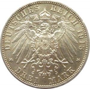 Niemcy, Saksonia, 3 marki 1913, 100-lat bitwy pod Lipskiem, Muldenhütten, UNC