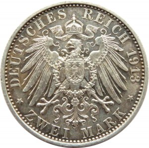 Niemcy, Prusy, Wilhelm II, 2 marki 1913 A, Berlin, UNC