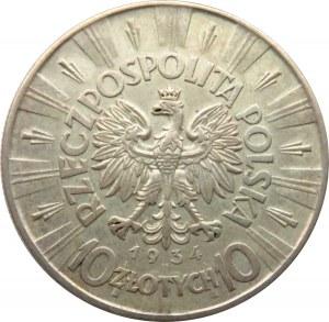 Polska, II RP, Józef Piłsudski 10 złotych 1934, Warszawa, rzadszy rocznik