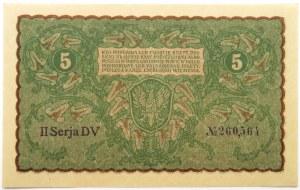 Polska, II RP, 5 marek 1919, II seria DV, UNC