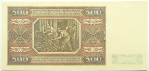 Polska, RP, 500 złotych 1948, seria CC, WZÓR