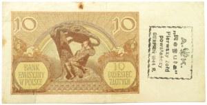 Polska, Generalna Gubernia, 10 złotych 1940, seria L, NADRUK POWSTAŃCZY REGUŁA