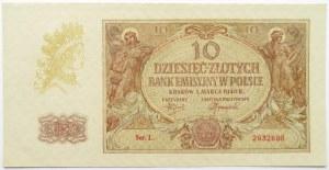 Polska, Generalna Gubernia, 10 złotych 1940, seria L, UNC