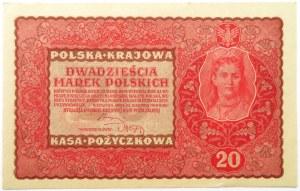 Polska, II RP, 20 marek 1919, II seria V, UNC