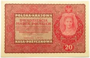 Polska, II RP, 20 marek 1919, II seria DG, UNC