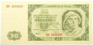 Polska, RP, 50 złotych 1948, seria DN, super numer 5666666